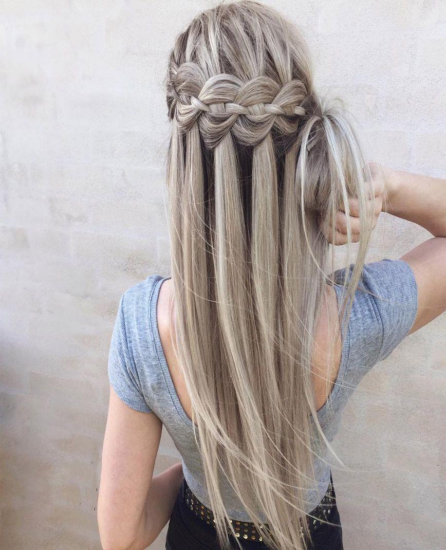 Waterfall Braid Into Messy Bun Hairstyles Ideas Hair Styles Bun Hairstyles For Long Hair Braided Hairstyles