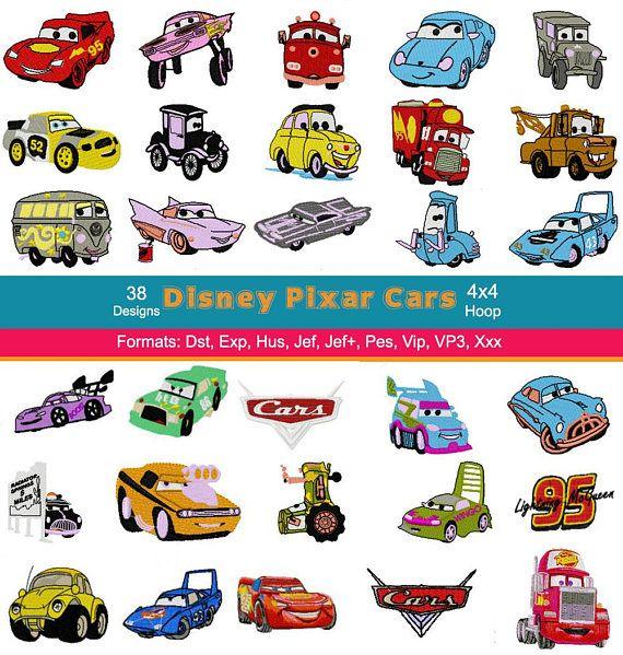 38 Disney Pixar Cars Embroidery Machine Designs, 4 Inch