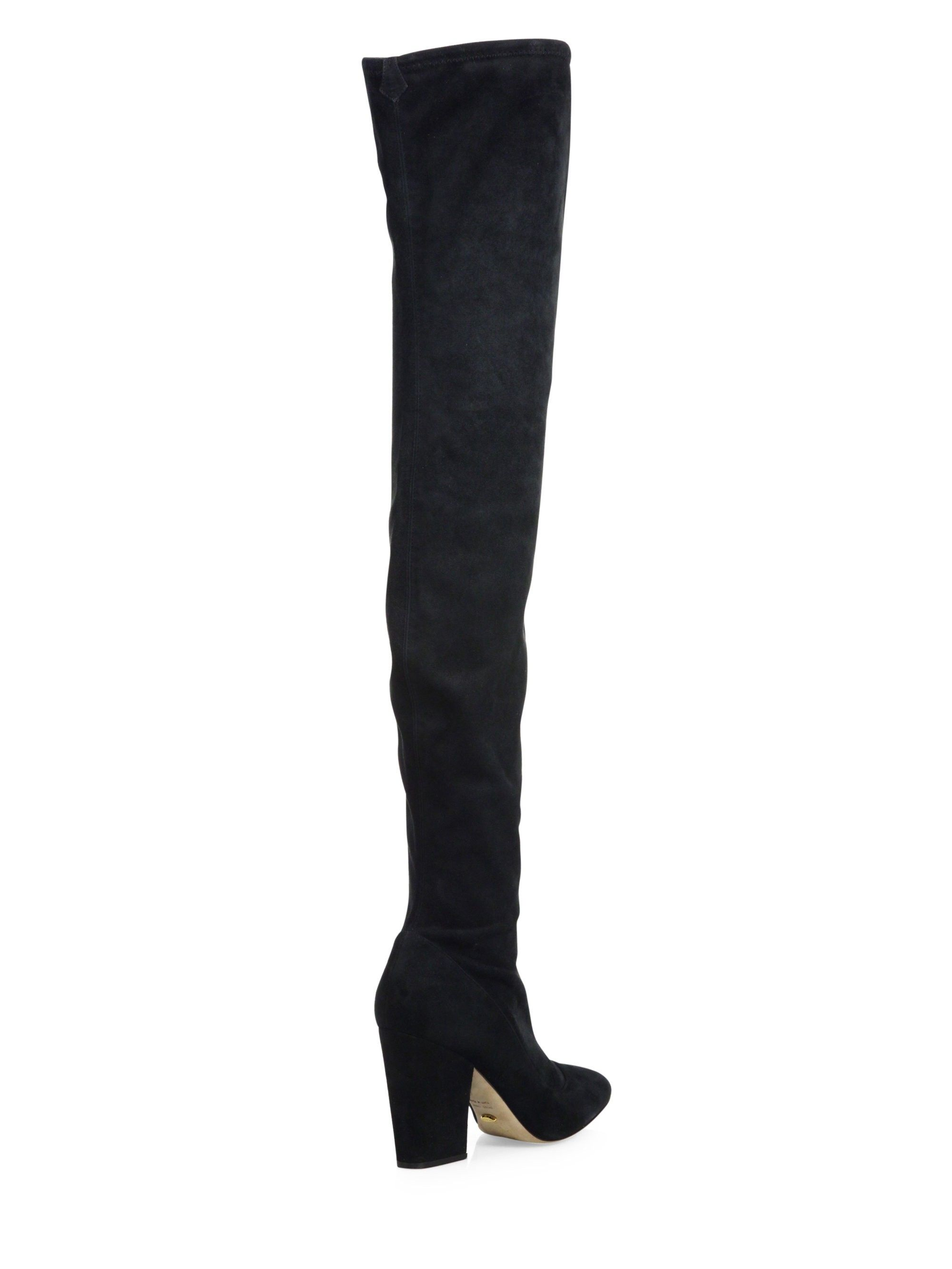Sergio Rossi Virginia Stretch-Suede Over-The-Knee Block-Heel Boots kPisS0