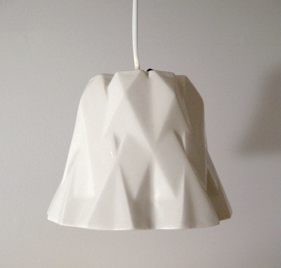 Facet Hanging Lamp Slipcast Porcelain Lampshade Accent Light Ceramic Digital Craft Modern White Abstract Art 30 Via Hanging Lamp Porcelain Lampshade Lamp