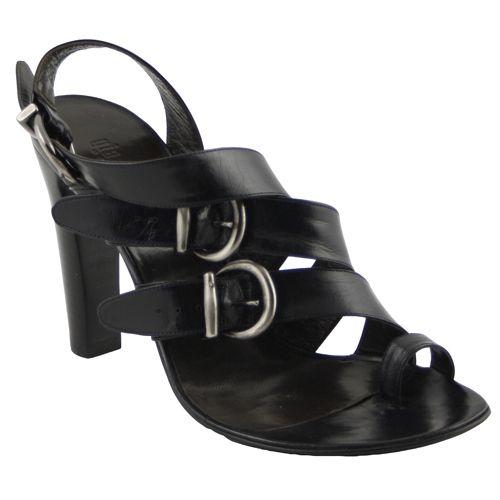 GIANNI BARBATO on mazzittimoda.com - Black leather sandal with three buckles