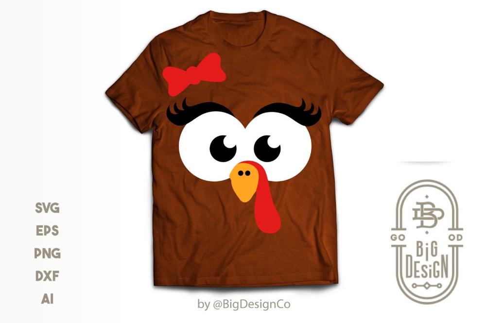 Girl Turkey Face SVG Thanksgiving Svg Cute Turkey TShirt