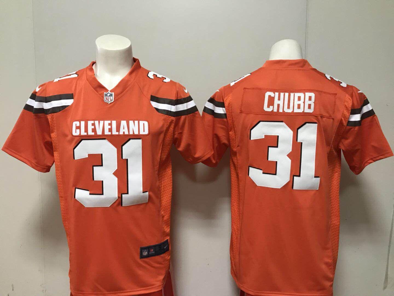 Men Cleveland Browns 31 Nick Chubb Nike orange 2018 NFL Draft Pick Game  Jersey 6c6c99f3c