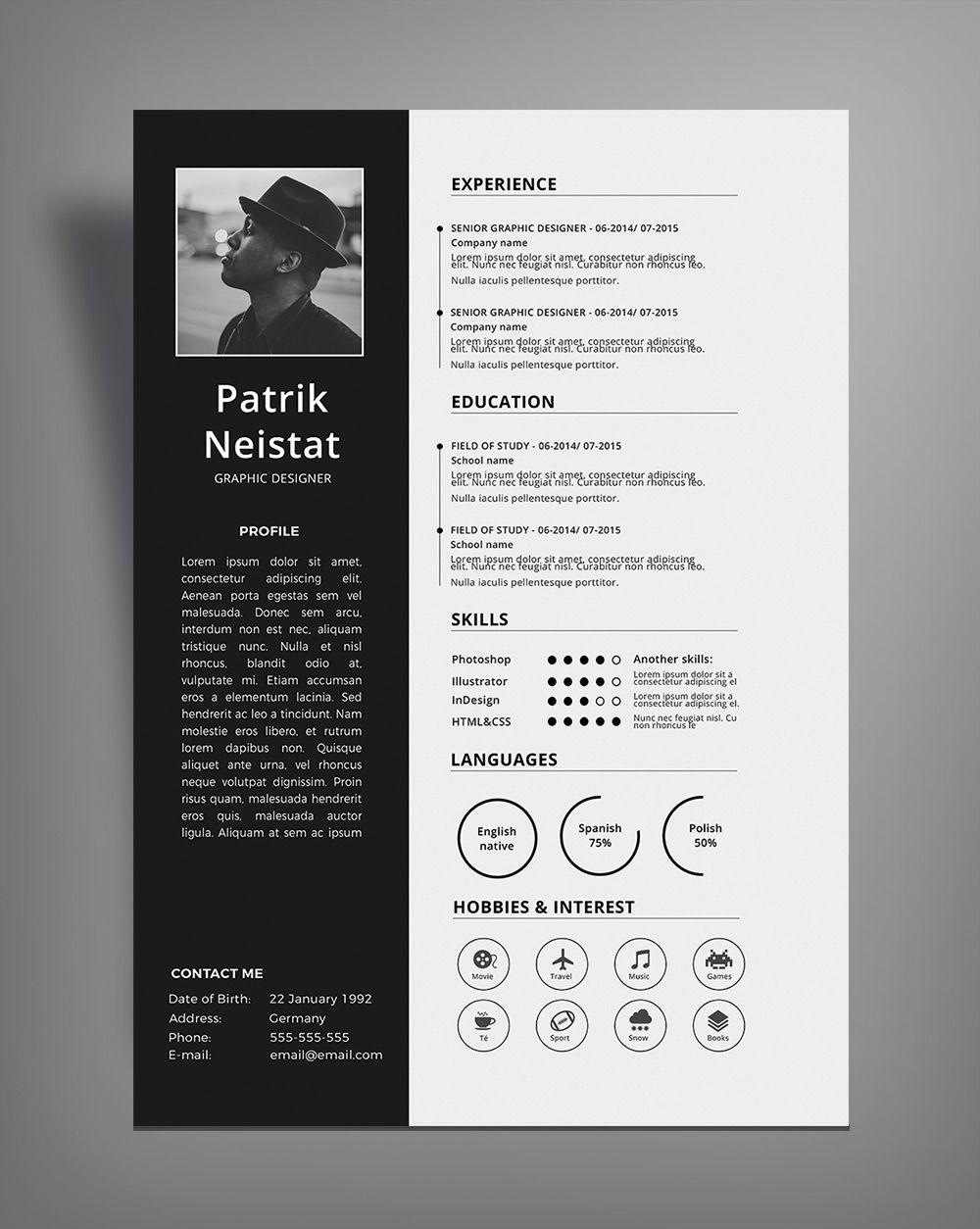 Simple Resume (CV) Desig8n Template Free PSD File (1) | Nature ...
