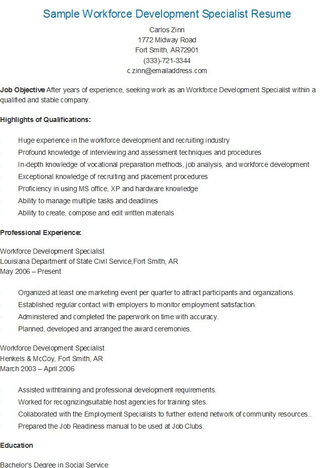 Sample Workforce Development Specialist Resume resame Pinterest