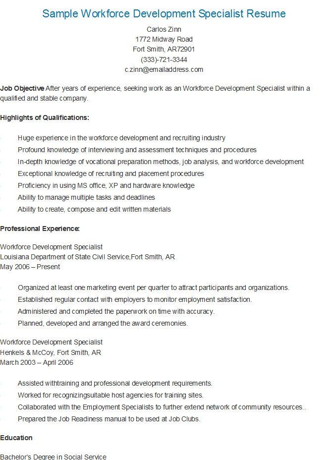 Sample Workforce Development Specialist Resume Workforce Development Resume Sample Resume