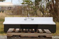 "54"" Refinished Vintage Double Drainboard Single Basin Metal Kitchen Farm Sink"