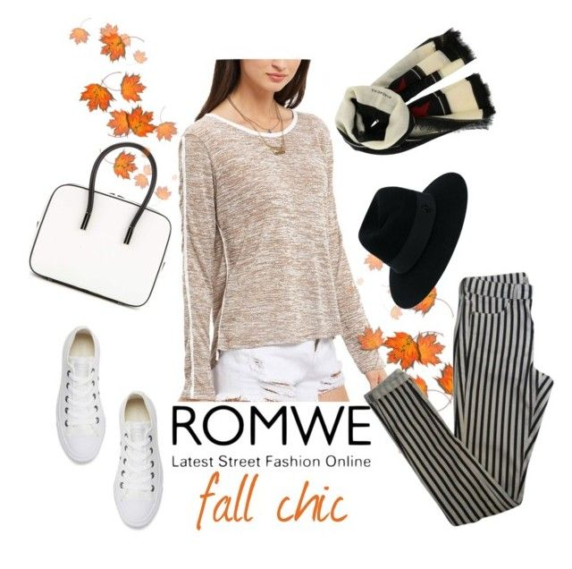 """fall chic with Romwe"" by nasalinhaler ❤ liked on Polyvore featuring Tom Ford, Topshop, Converse, Maison Michel and Givenchy"