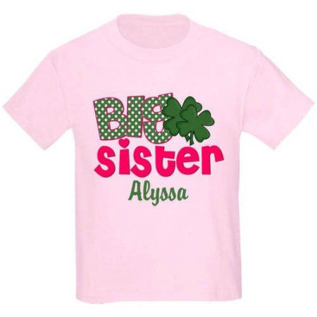 bd635a5f7 CafePress Personalized Big Sister Shamrock Personalized T-Shirt, Size: Kids  Large, Pink