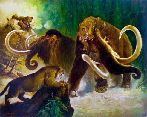 WOOLLY MAMMOTH AND SABER TOOTH TIGER CROSS STITCH CHART