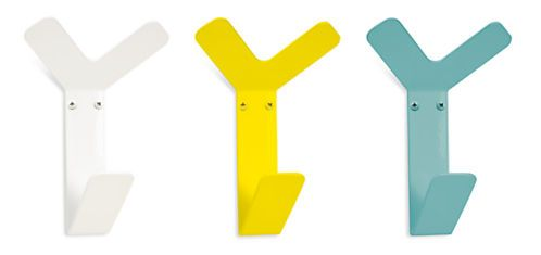 colorful coat hooks. crew modern triple wall hooks in colors - coat racks \u0026 colorful
