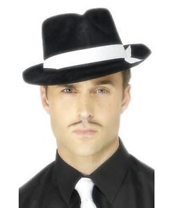 595c88a2 ADULT MENS 1920s AL CAPONE GANGSTER HAT - HALLOWEEN COSPLAY COSTUME ...