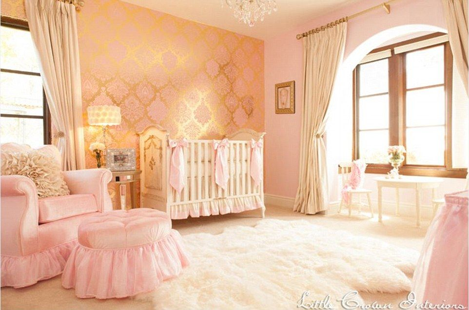 plush design little girl room. This gold  cream and pink room by Little Crown Interiors has a regal style with A fit for princess The most extravagant girls rooms