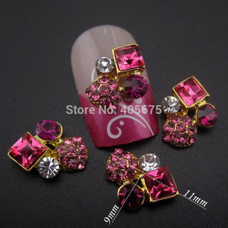 10 pz strass strass glitter piazza decorazione dei monili del chiodo dell'oro 3d nails art YNS24