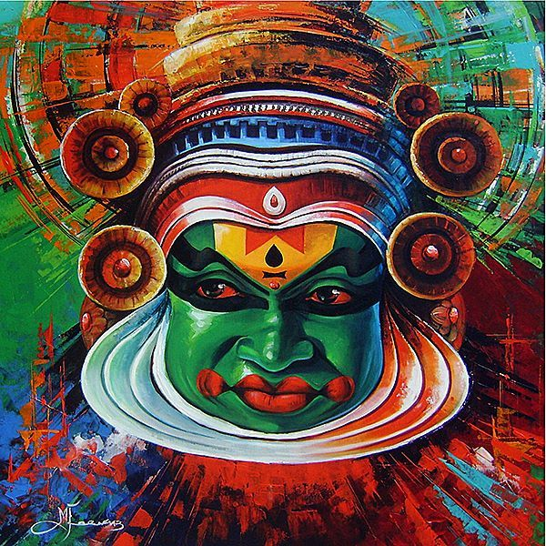 Kathakali fine arts pinterest paintings and indian for Acrylic mural painting techniques