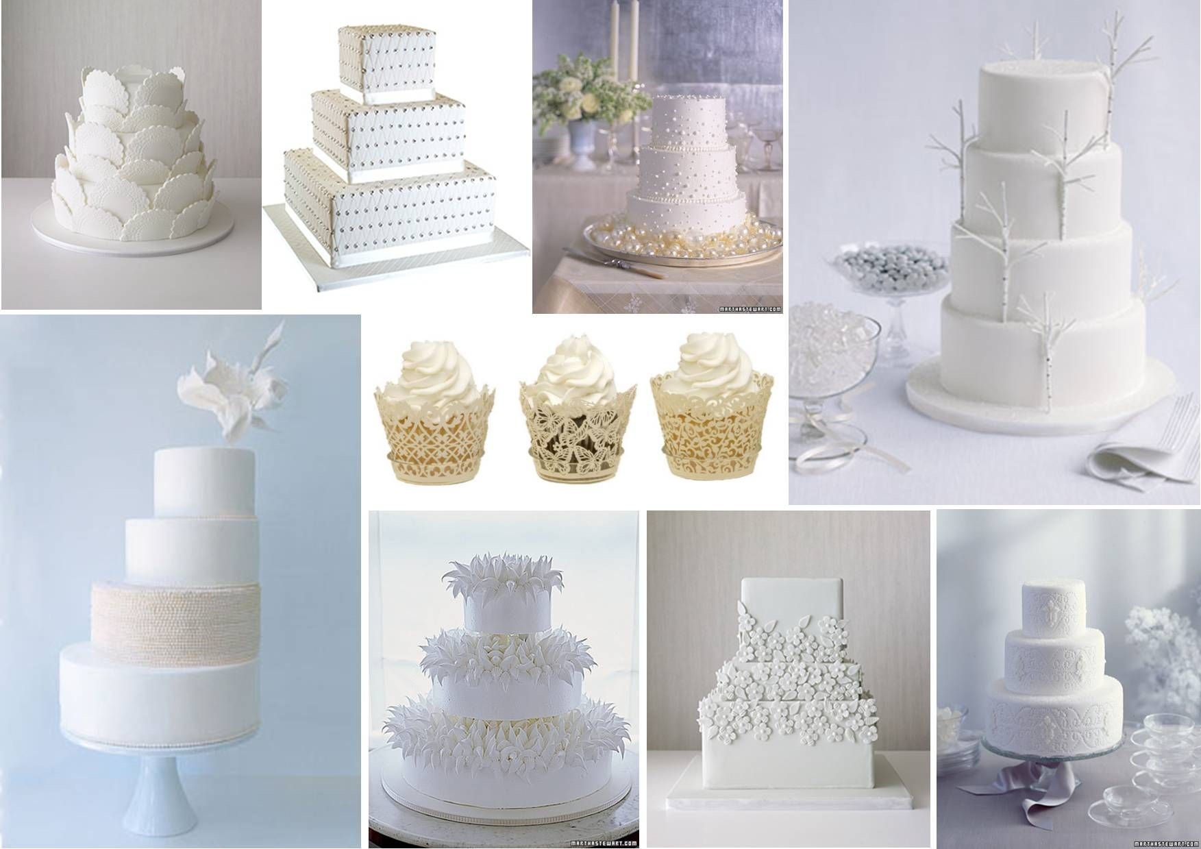 Cake or cupcakes so many options for a white wedding winter