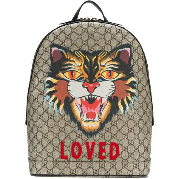 01f672de691f Gucci GG Supreme tiger embroidered backpack ($1,750) ❤ liked on Polyvore  featuring men's fashion, men's bags, men's backpacks, mens leather backpack  and ...