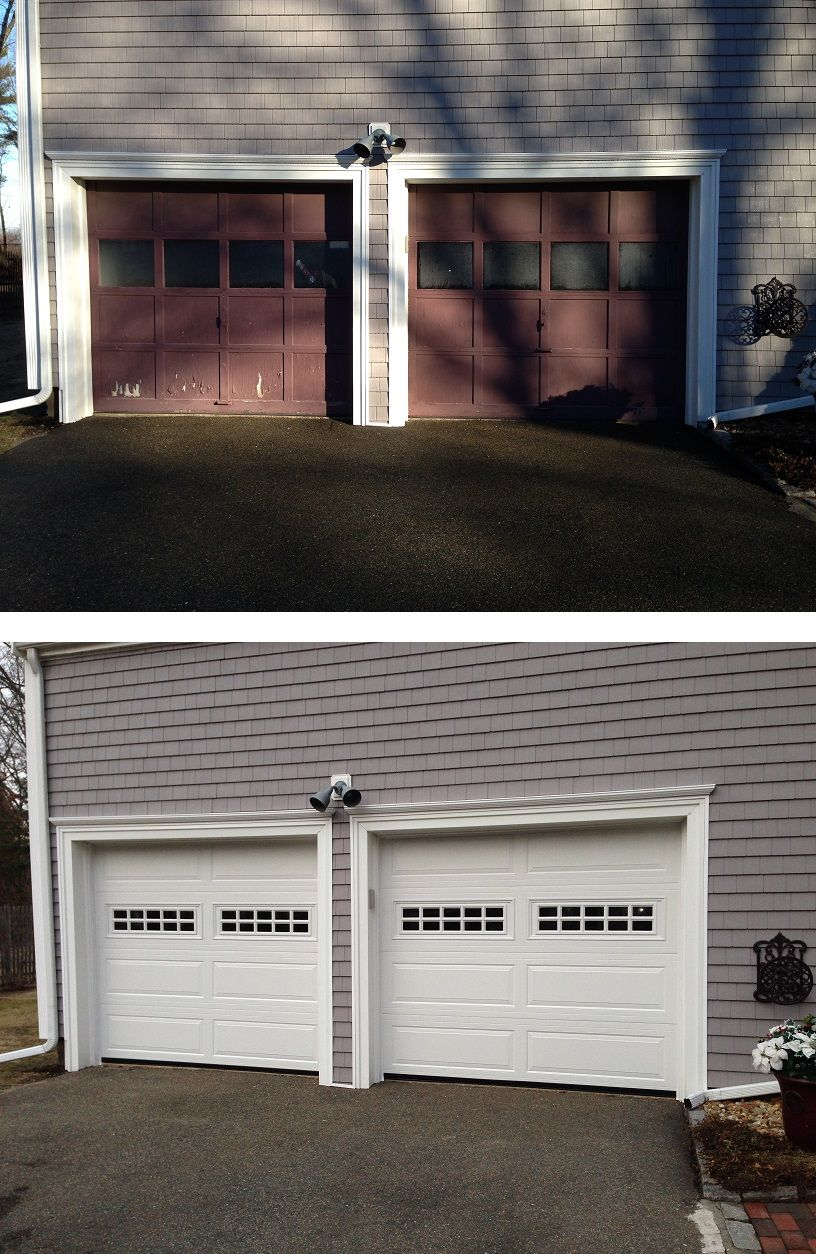 Replaced Old Recessed Panel Doors With New Haas Model 670 Steel Ranch Panel Garage  Doors In