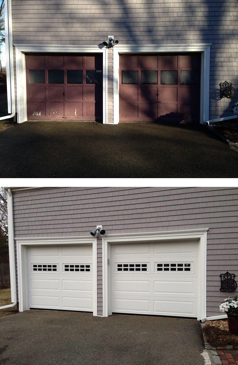 Replaced Old Recessed Panel Doors with New Haas model 670 Steel Ranch Panel Garage Doors in & Replaced Old Recessed Panel Doors with New Haas model 670 Steel ... pezcame.com