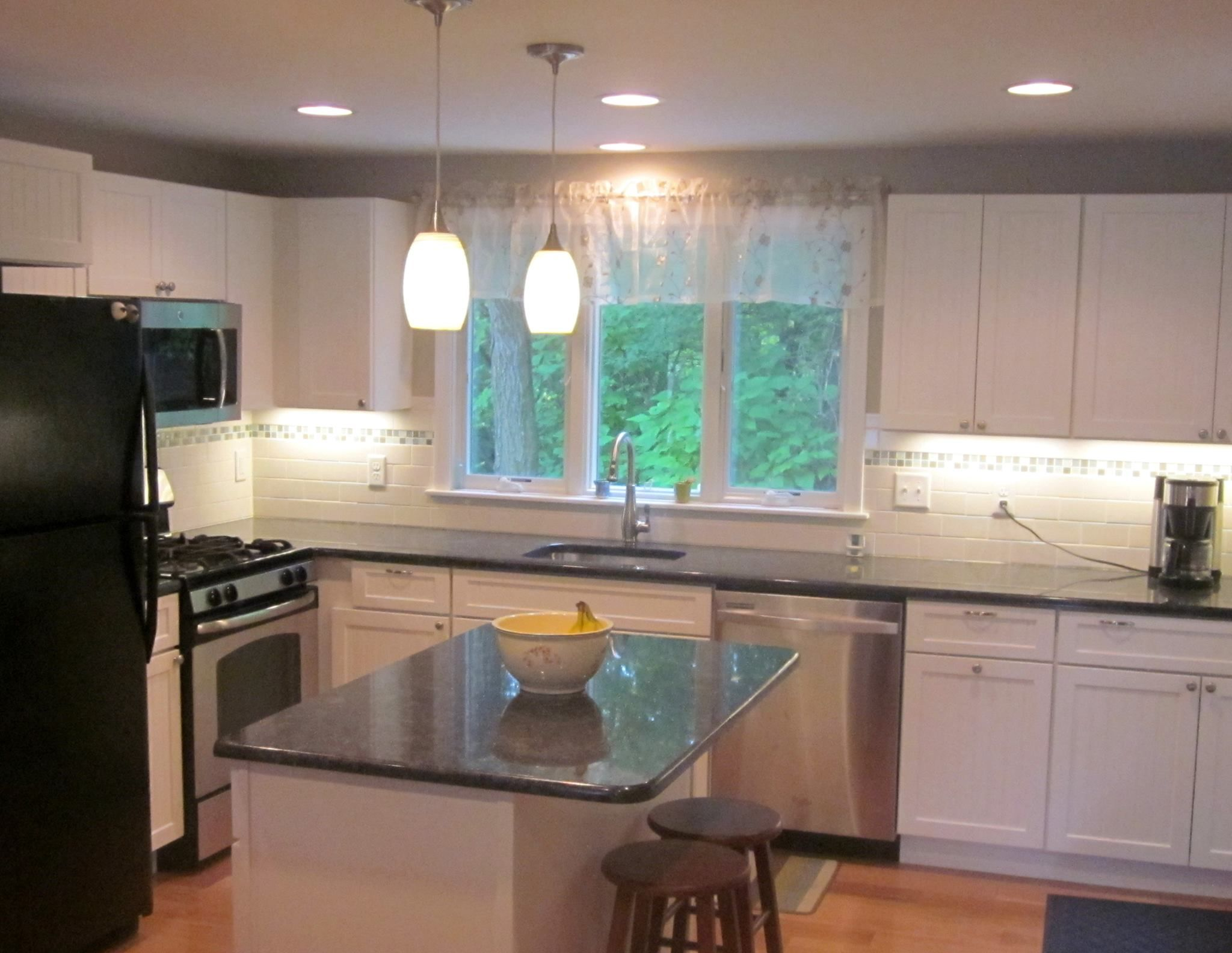 A Complete Gut Down To Bare Studs Renovation With New Medallion Cabinets New Island Wood Floor Ti Medallion Cabinets Under Cabinet Lighting Cabinet Lighting
