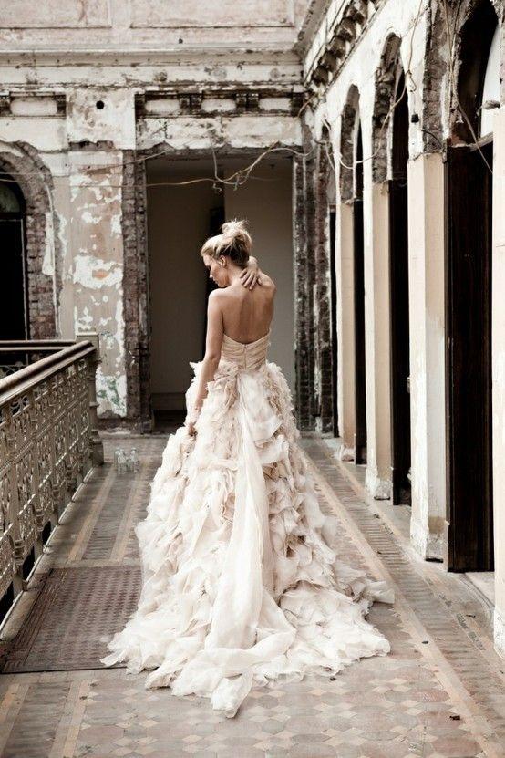 blush pink ruffled wedding dress - stunning #love