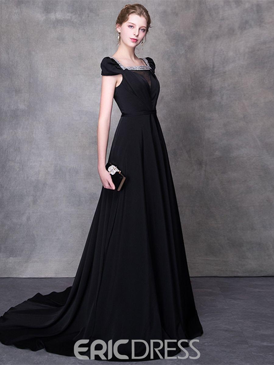 5a0cb11b444 Ericdress A Line Cap Sleeve Black Evening Dress With Beadings 13220979 -  Ericdress.com