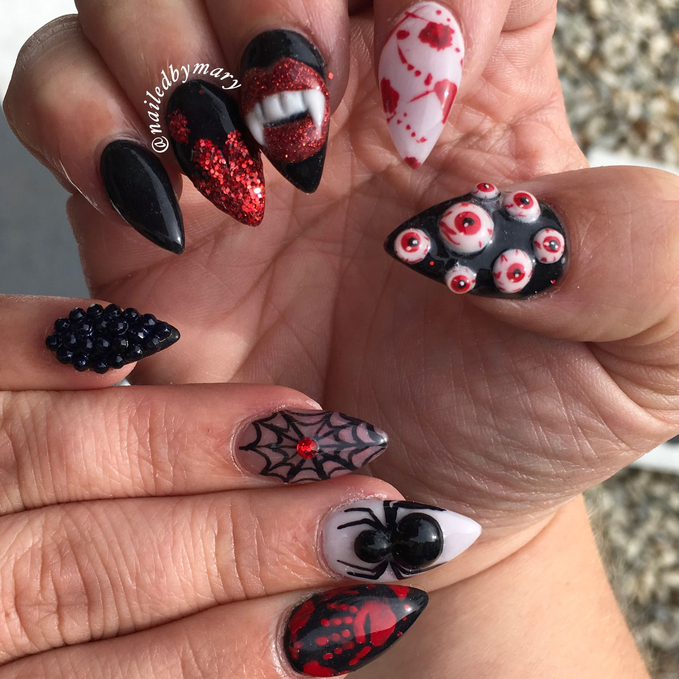 3D nail art eyeballs fangs spider Halloween web stiletto scary blood ...