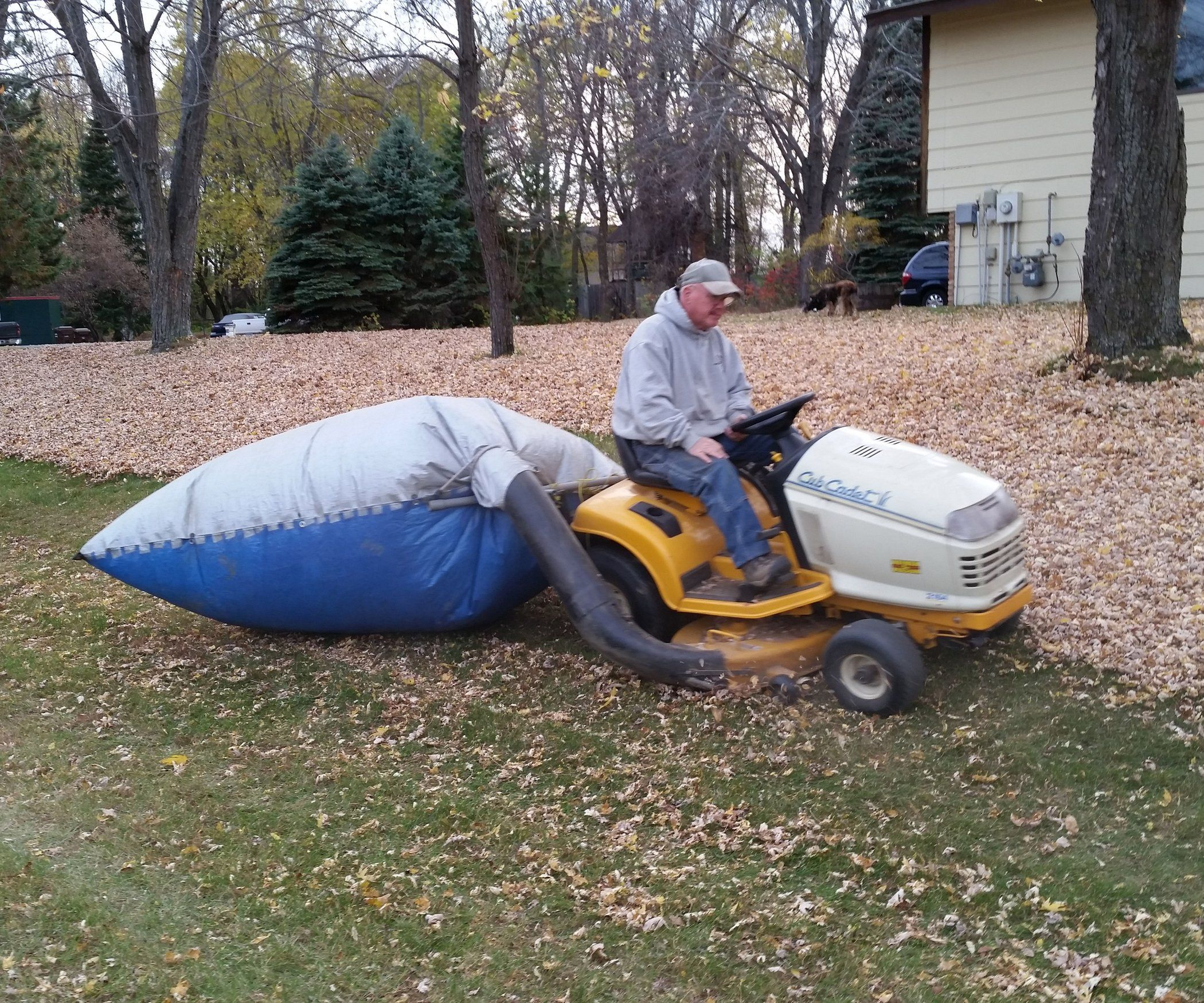 Tarp Leaf Bagging System is part of lawn Mower Leaves - Tarp Leaf Bagging System Picking up leaves with a lawn mower can be a hassle if you have a big yard and lots of leaves  You need to do it pretty much every day if you want to keep up otherwise there are too many leaves on the ground, they clog up your bagger tube and fi