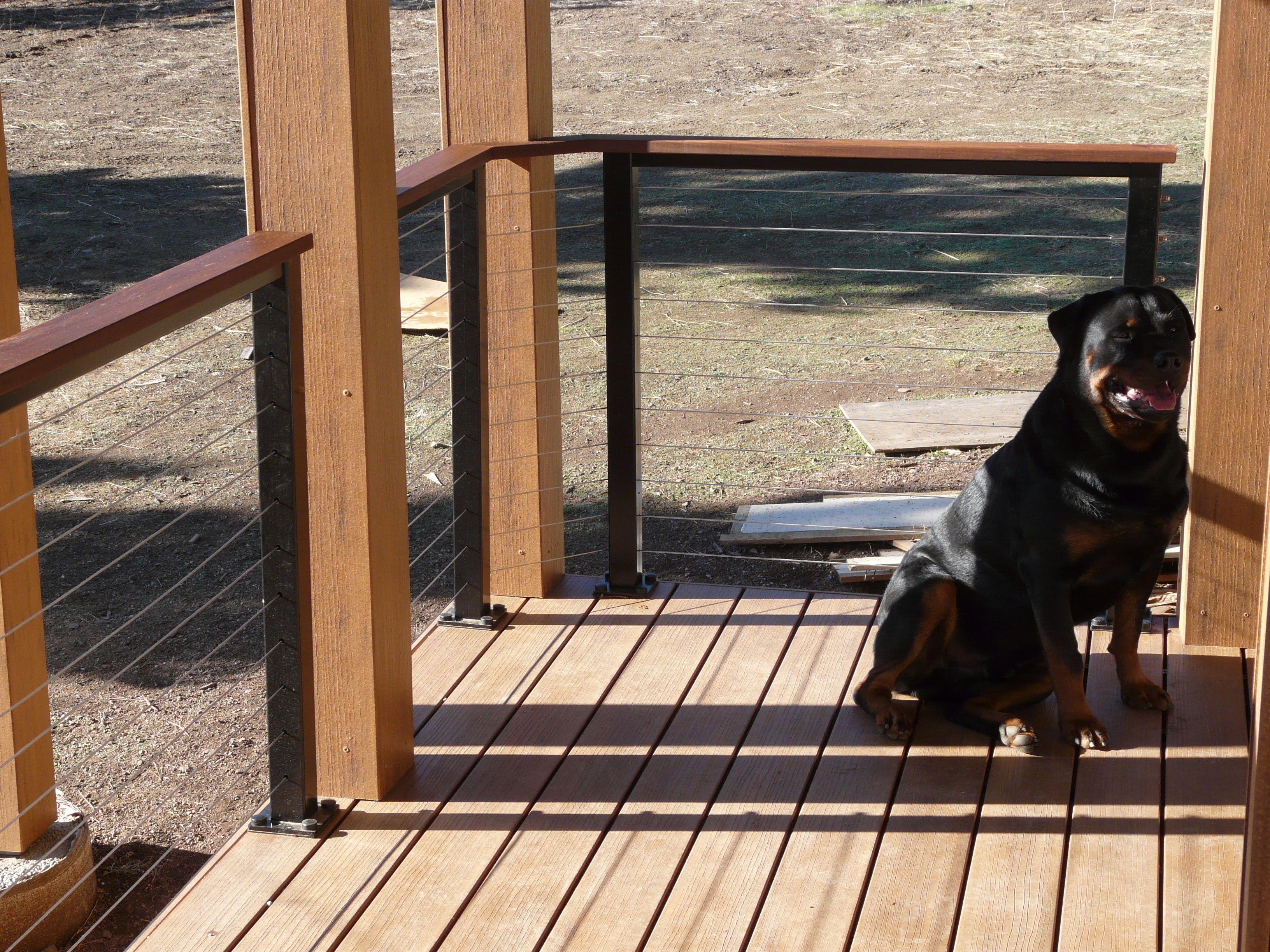 Deck Railing Ideas  Deck Railing Ideas: Black Aluminum Posts With Wood Top  Rail And