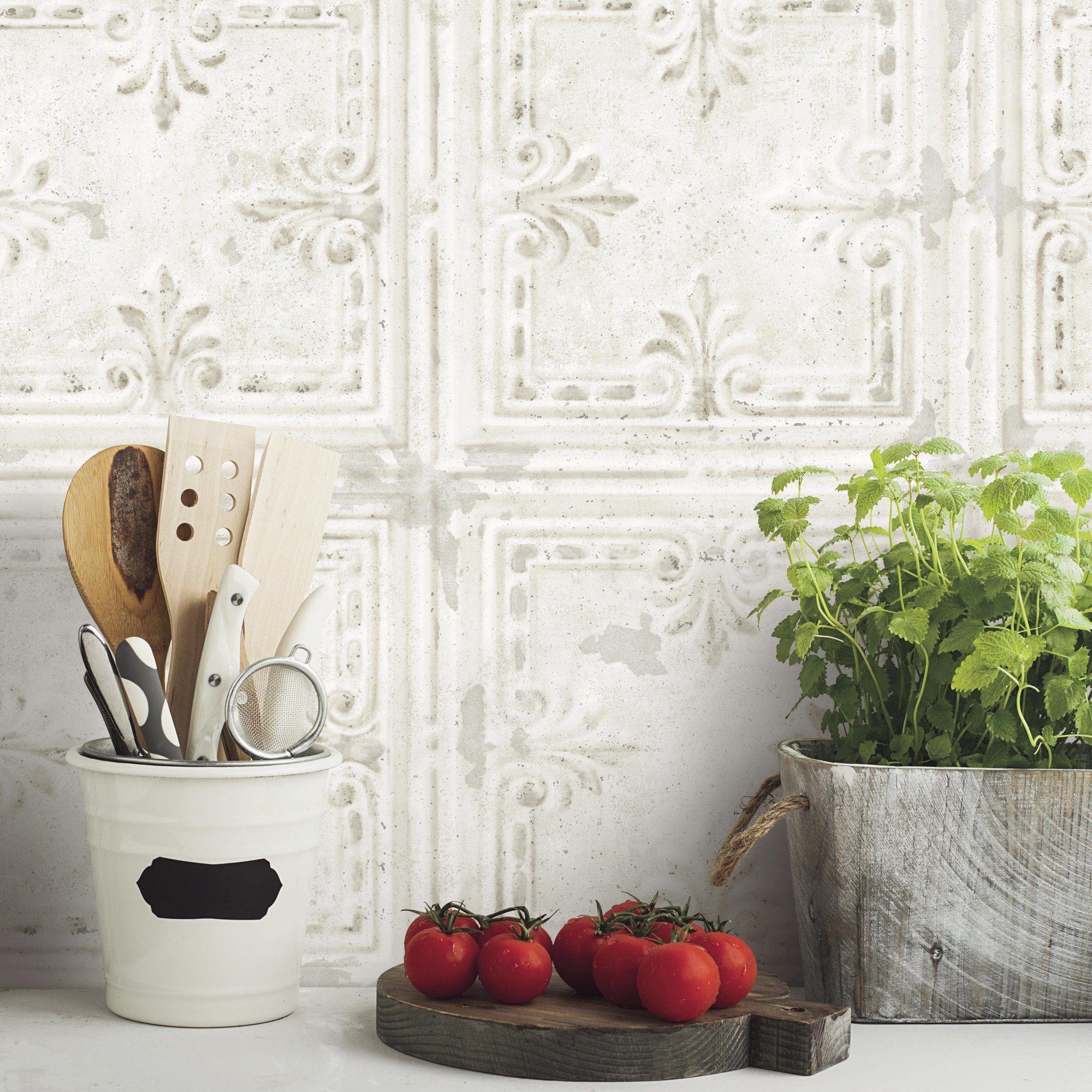 Roommates Tin Tile White Peel And Stick Wallpaper Walmart Com Tin Tiles Peel And Stick Wallpaper Peelable Wallpaper