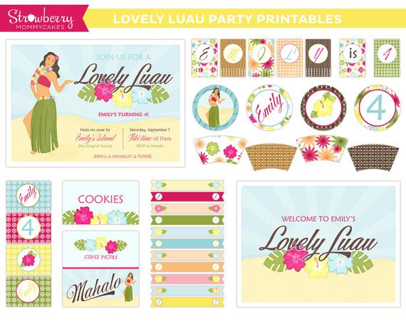 Custom DIY Lovely Luau Party Printables by strawberrymommycakes ...