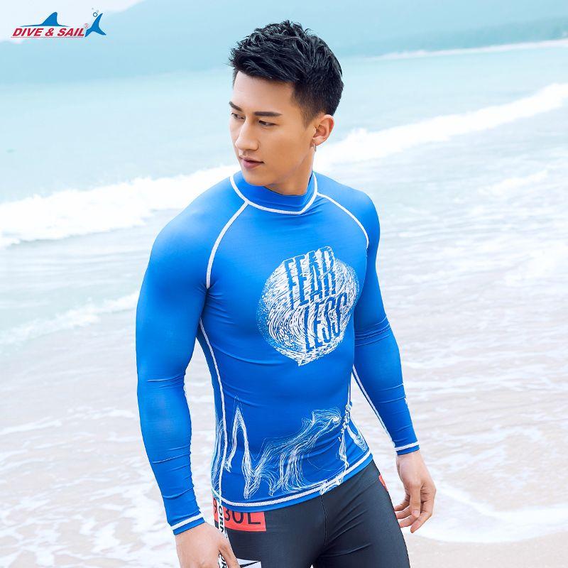 Diving Surfing Rash Guard Mens Long Sleeve Swimwear Beach Sun Protection UPF 50