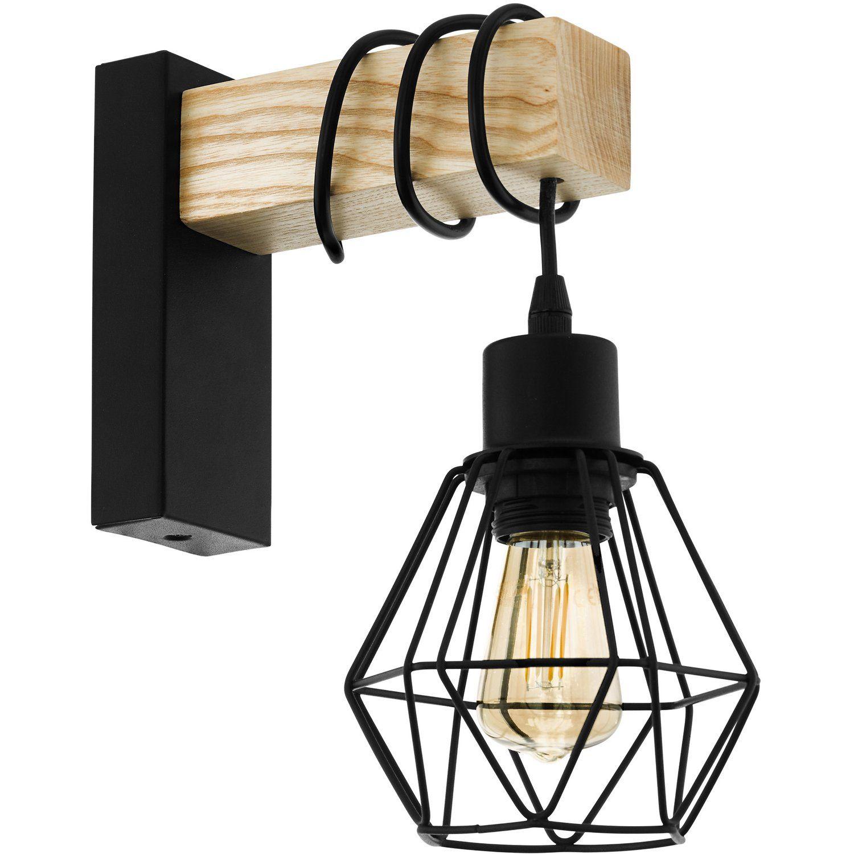 Eglo Wandleuchte Townshend 5 Schwarz Braun Eek A E Kaufen Bei Obi Wandleuchte Lampe Wandlampen