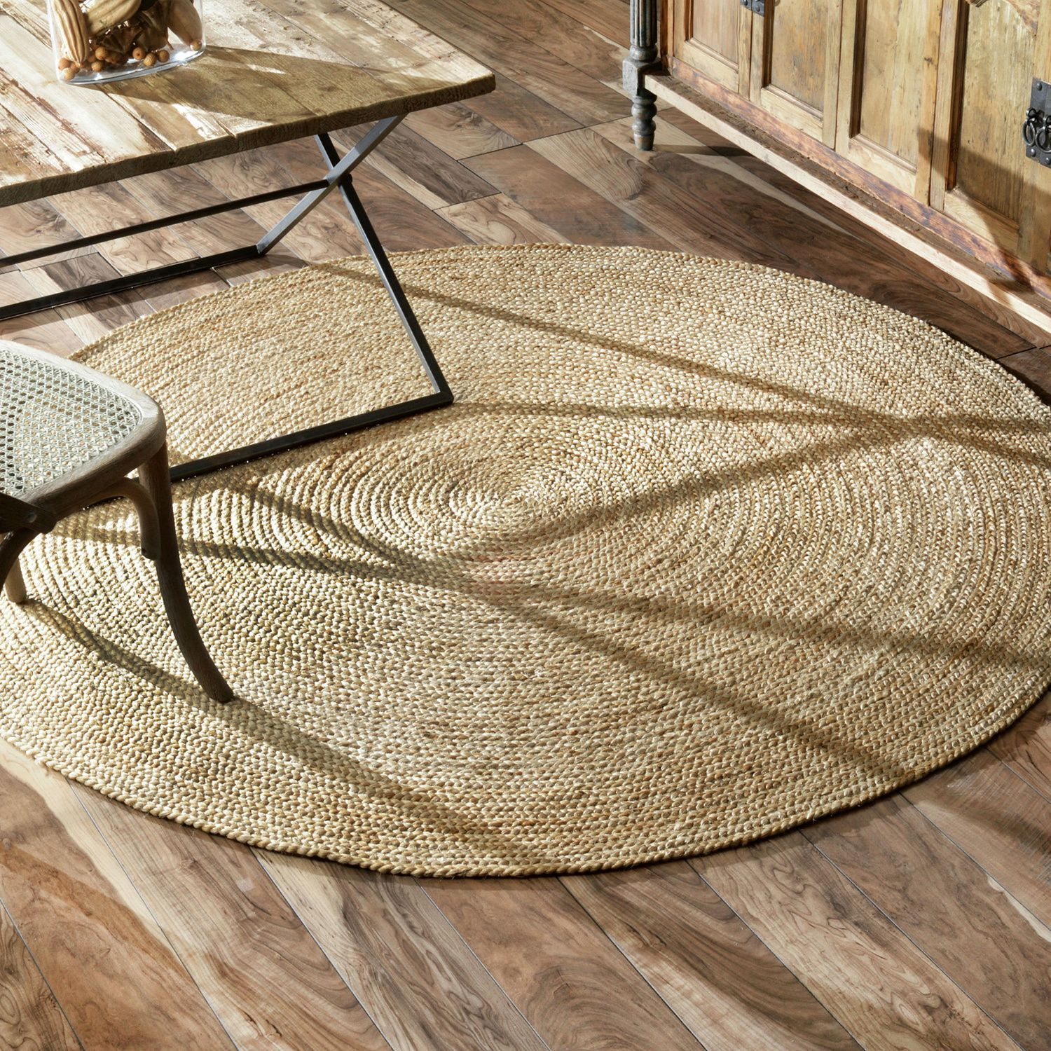 Nuloom Alexa Eco Natural Fiber Braided Reversible Jute Rug 8 Round Brown Size X