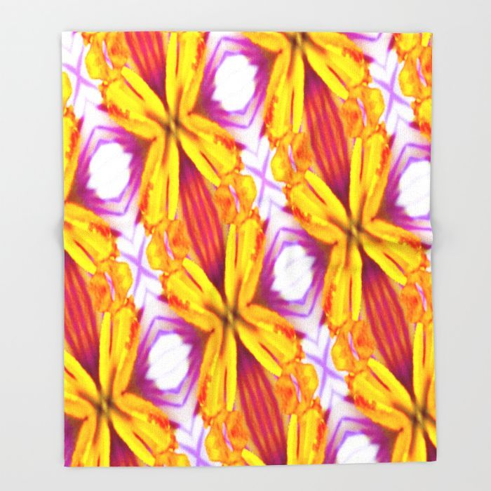 Floral Abstract Design Throw Blanket