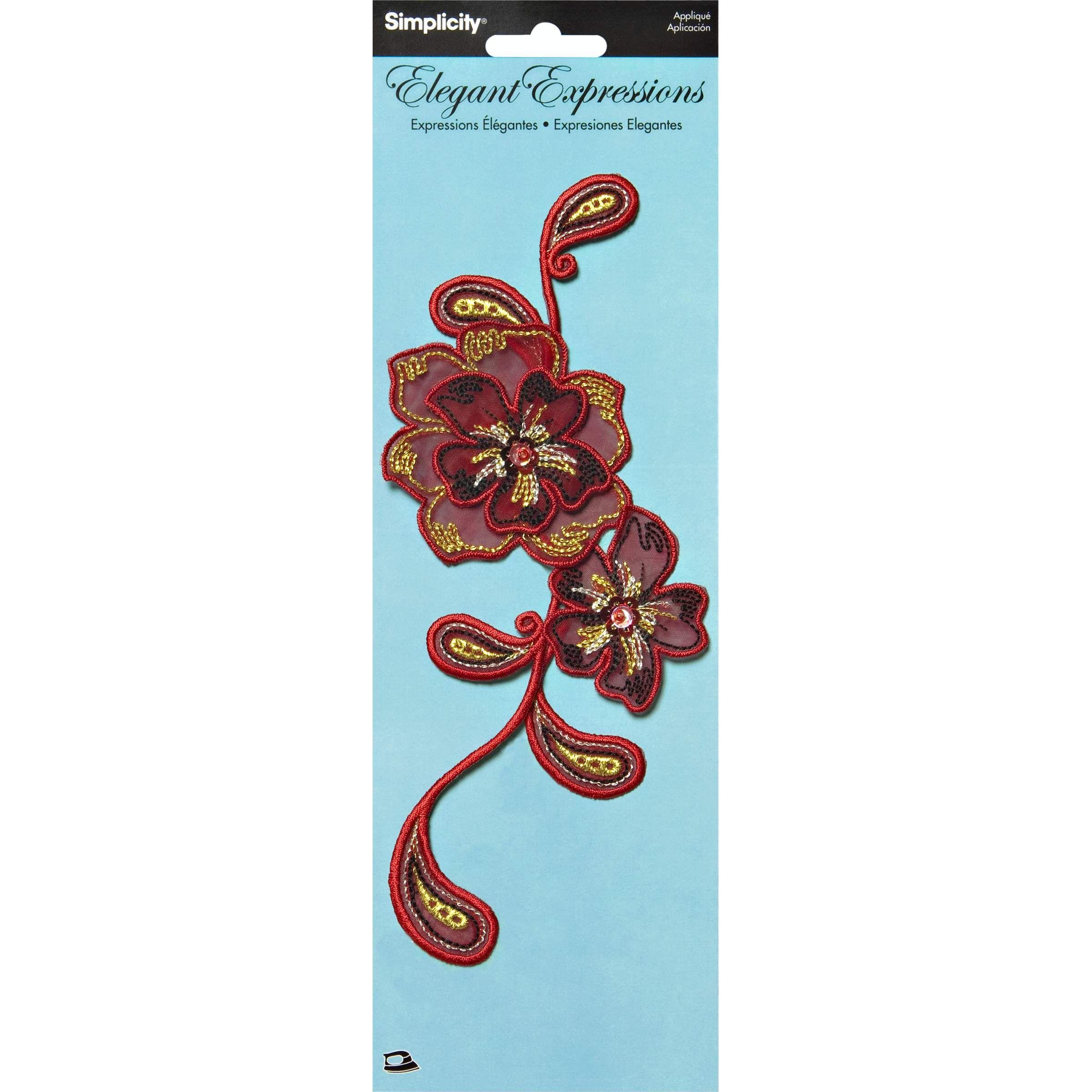 Elegant Expressions Red Iron On Flower Applique Applique