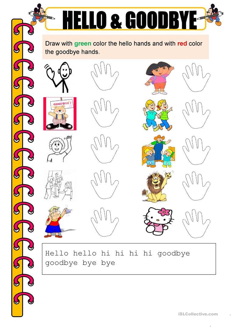 Hello And Goodbye Worksheet English Esl Worksheets Writing Skills Teaching Jobs Hello Goodbye [ 1079 x 763 Pixel ]