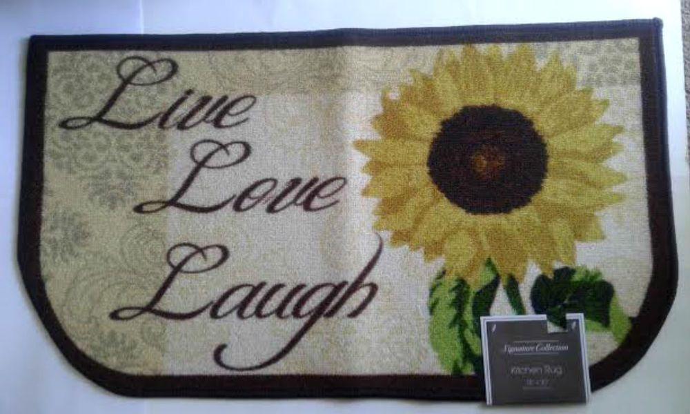 Sunflower Live Love Laugh Slice Mat Rug Kitchen Decor Signature