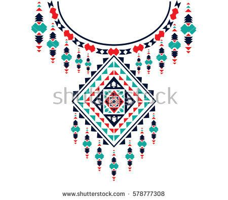 Geometric Ethnic Pattern Neck Embroidery Design For Background Or