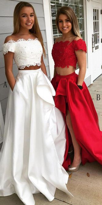 Two Piece Off-the-Shoulder Short Sleeves White Prom Dress with Lace Pockets OHC020
