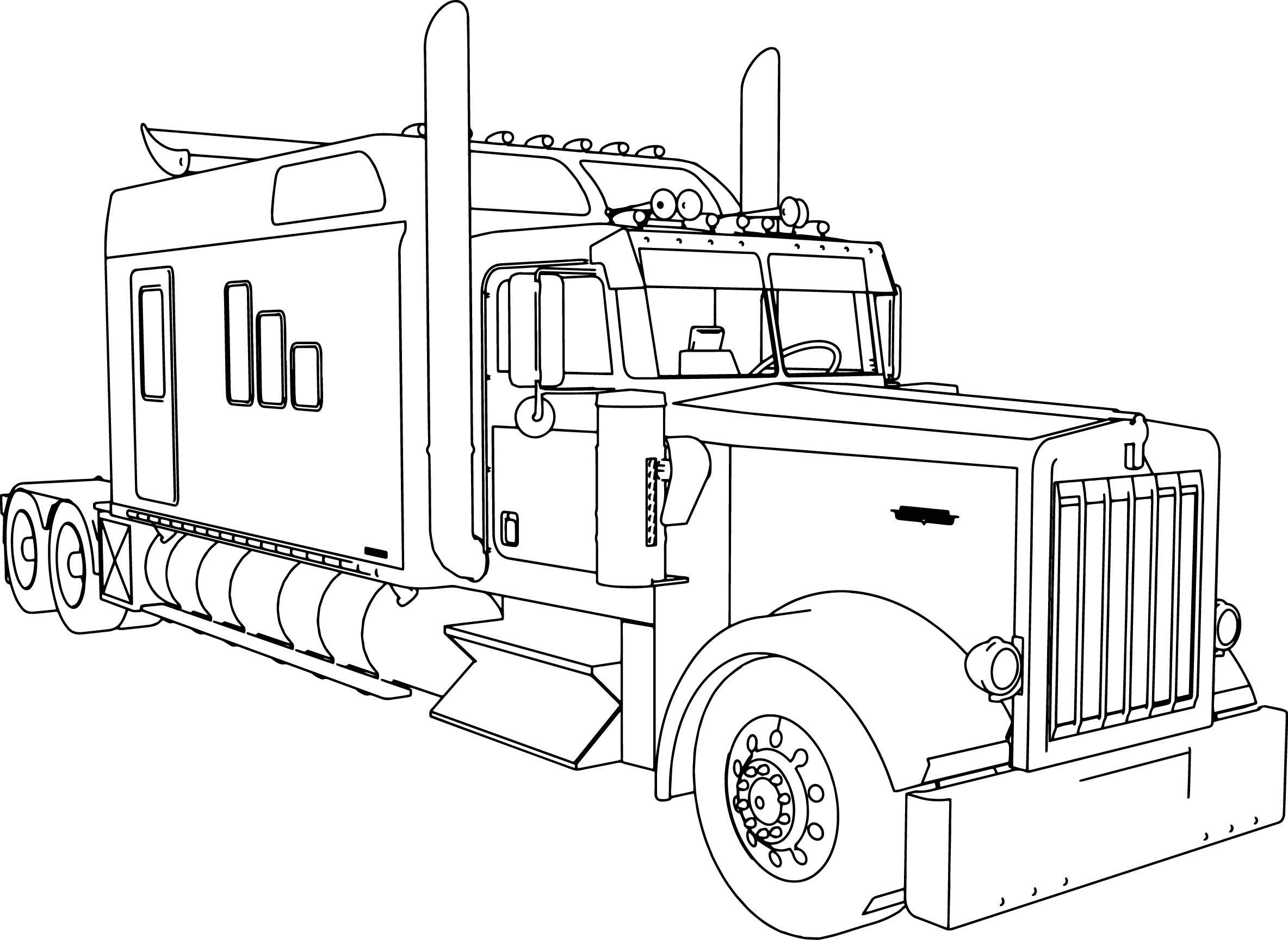 Peterbilt Semi Truck Coloring Page Drawing Sketch Sketch Coloring