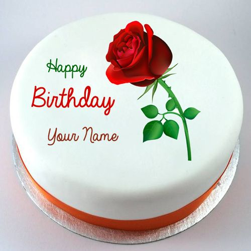Happy Birthday Red Rose Flower Cake With Your Name Name Birthday