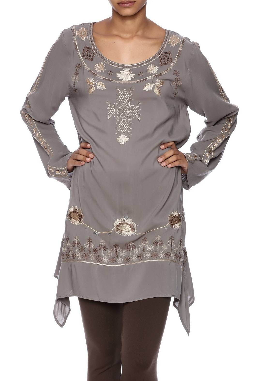 Embroidered grey tunic with embroidery detailing, long sleeves, asymmetric sides and a round neckline.    Embroidered Tunic Top by Tasha Polizzi. Clothing - Tops - Long Sleeve Clothing - Tops - Tunics Saratoga, Wyoming