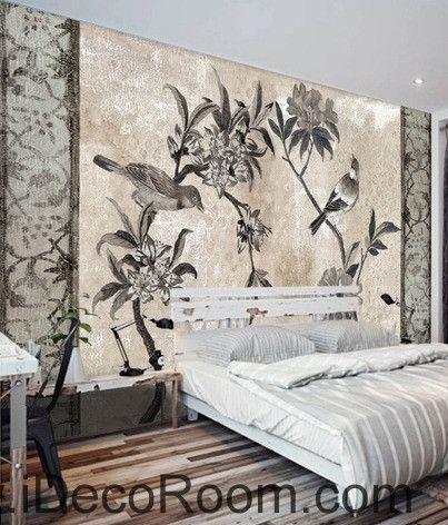 European style retro floral flower bird painting wall art wall decor mural wallpaper wall IDCWP-000172