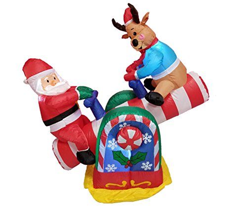 4 Foot Animated Christmas Inflatable Santa Claus and Reindeer on