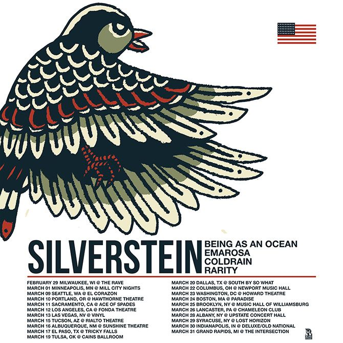 Silverstein Announce Us Tour With Being As An Ocean Emarosa Coldrain Rarity Tour Posters Silverstein Rarity