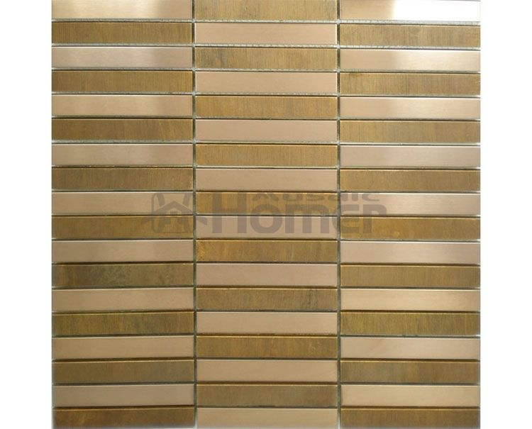 Tile Wall Decor Bronze And Stainless Steel Mosaic Metal Wall Tile Strip Pattern