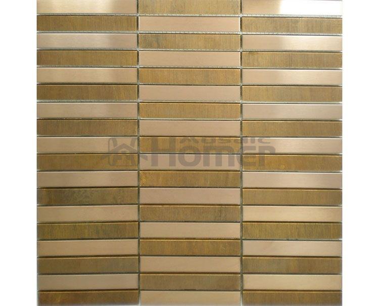 bronze and stainless steel mosaic metal wall tile strip pattern dining room wall tiles bedroom wall - Metal Tile Bedroom Design