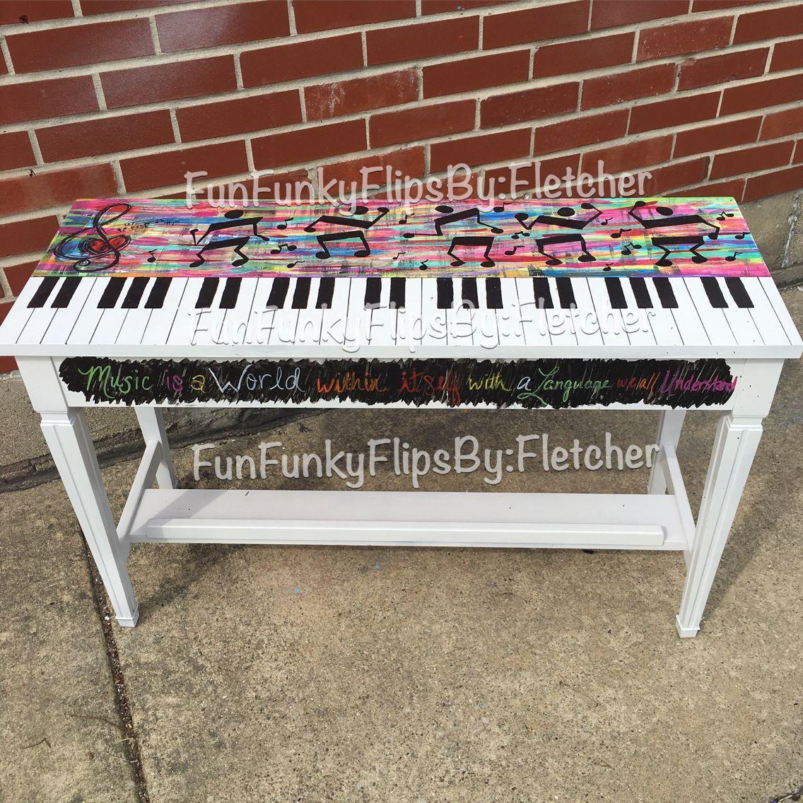 Hand painted dancing music men piano bench. Brandy ...