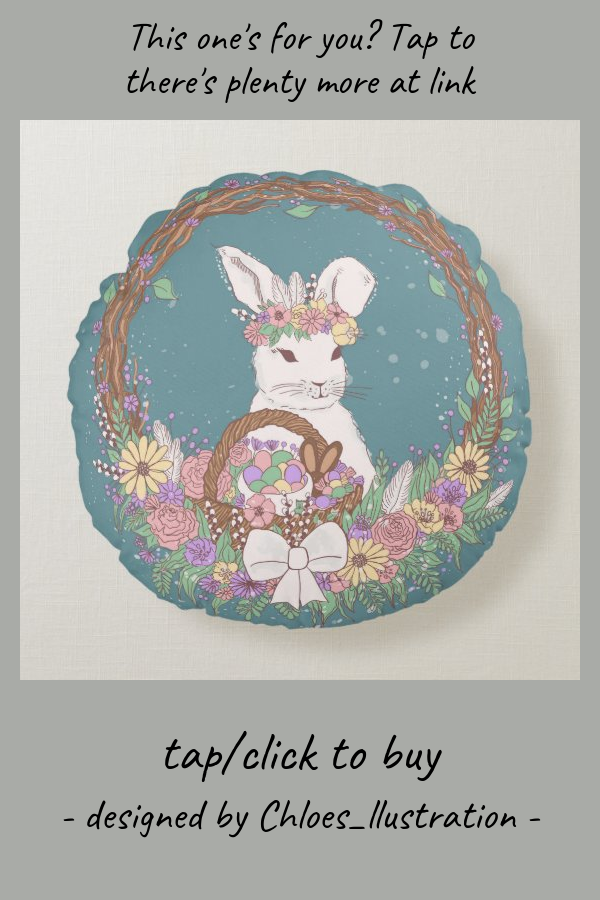 Watercolor Easter Bunny Wreath Art Round Pillow